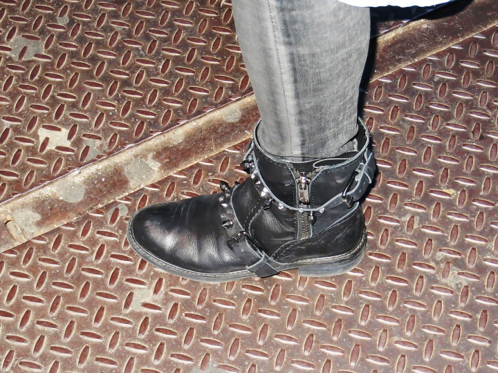 Sam Edelman Studded Biker Boots on a NYC Grate!