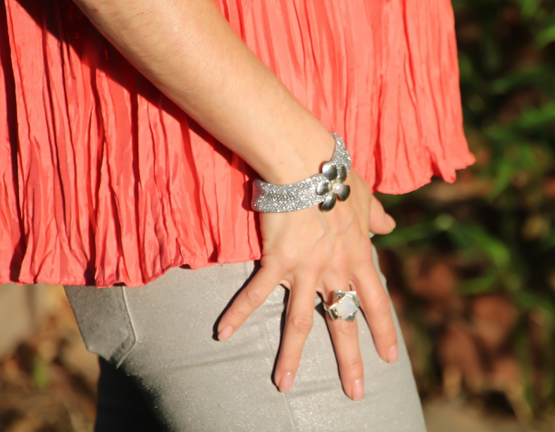 Silver Mesh Bracelet with Flower and Pearl