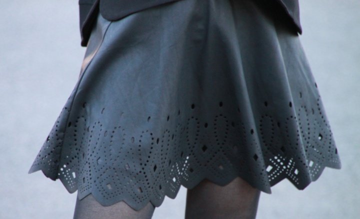 Laser Cut Faux Leather Skirt