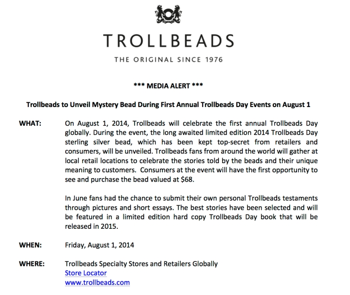 Media Alert- Global Trollbeads Day Aug 1