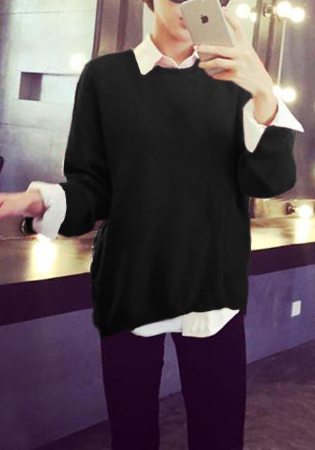 Black Side Zip Sweater
