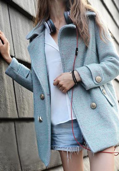 Double-breasted Faux Woolen Coat