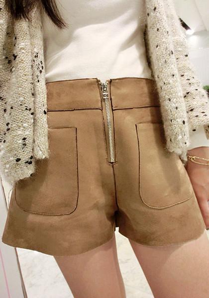 Khaki Micro Suede Shorts