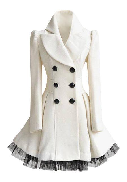 White Ruffled Tulle Coat